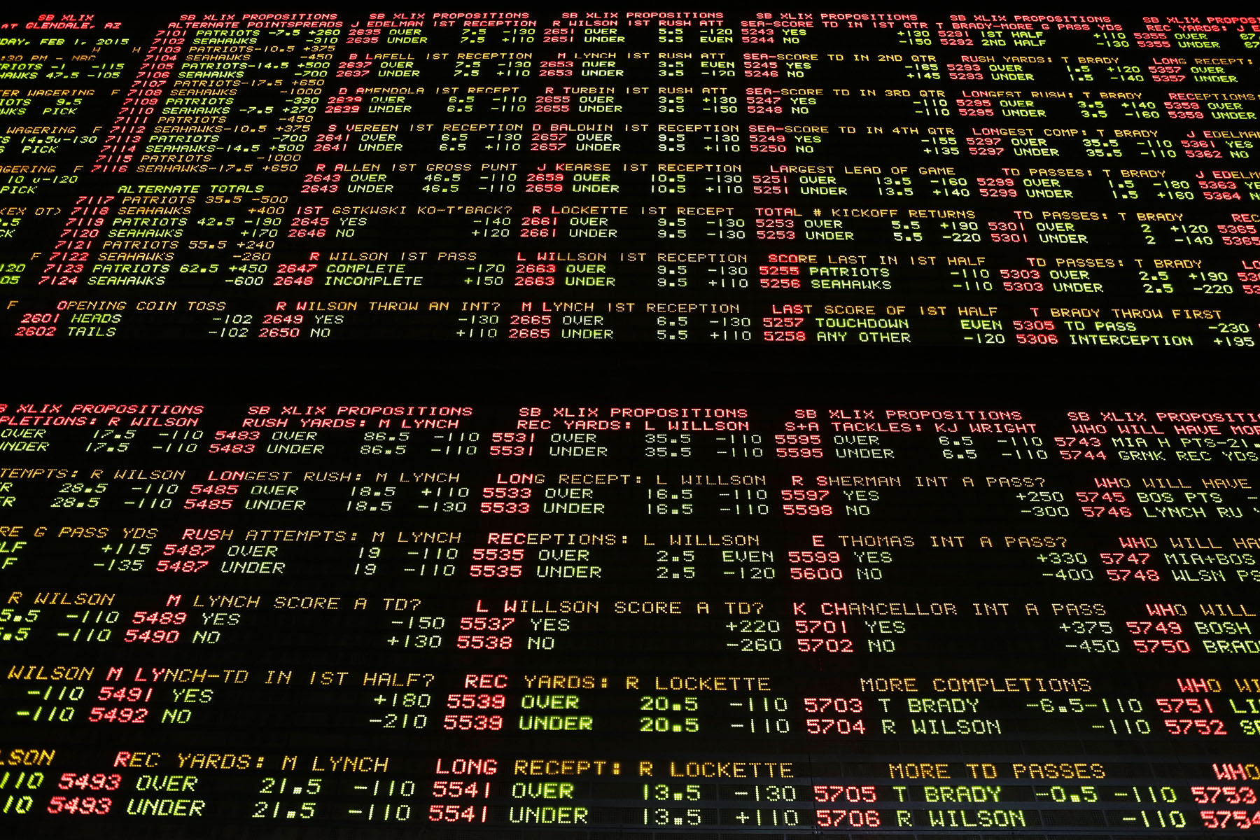 Super Bowl proposition bets are displayed on a board at the Westgate Superbook race and sports book Tuesday, Jan. 27, 2015, in Las Vegas. (AP Photo/John Locher)
