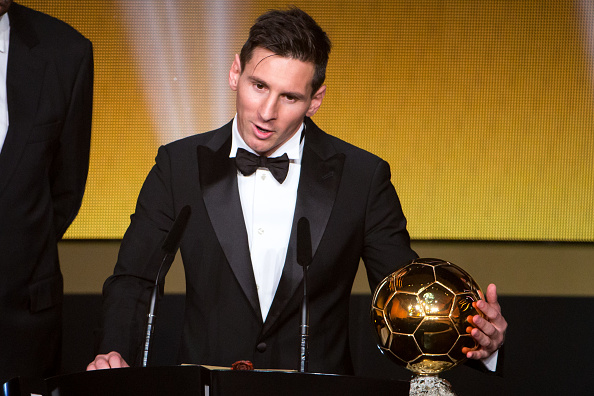 ZURICH, SWITZERLAND - JANUARY 11: FIFA Ballon d'Or winner Lionel Messi of Argentina and FC Barcelona speaks during the FIFA Ballon d'Or Gala 2015 at the Kongresshaus on January 11, 2016 in Zurich, Switzerland. (Photo by Philipp Schmidli/Getty Images)