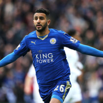 LEICESTER, ENGLAND - APRIL 24:  Riyad Mahrez of Leicester City celebrates scoring a goal to make the score 1-0 during the Barclays Premier League match between Leicester City and Swansea City at The King Power Stadium on April 24, 2016 in Leicester, United Kingdom.  (Photo by Matthew Ashton - AMA/Getty Images)