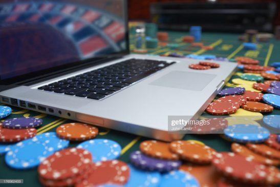 Laptop computer in casino